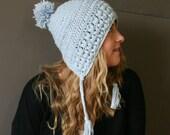 Slouchy Bonnet Hat - Slouchy Earflap Beanie - Winter Blue Baggy Hat