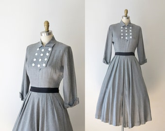 1950s New Look Dress /  40s 50s Gray Jonathan Logan Dress