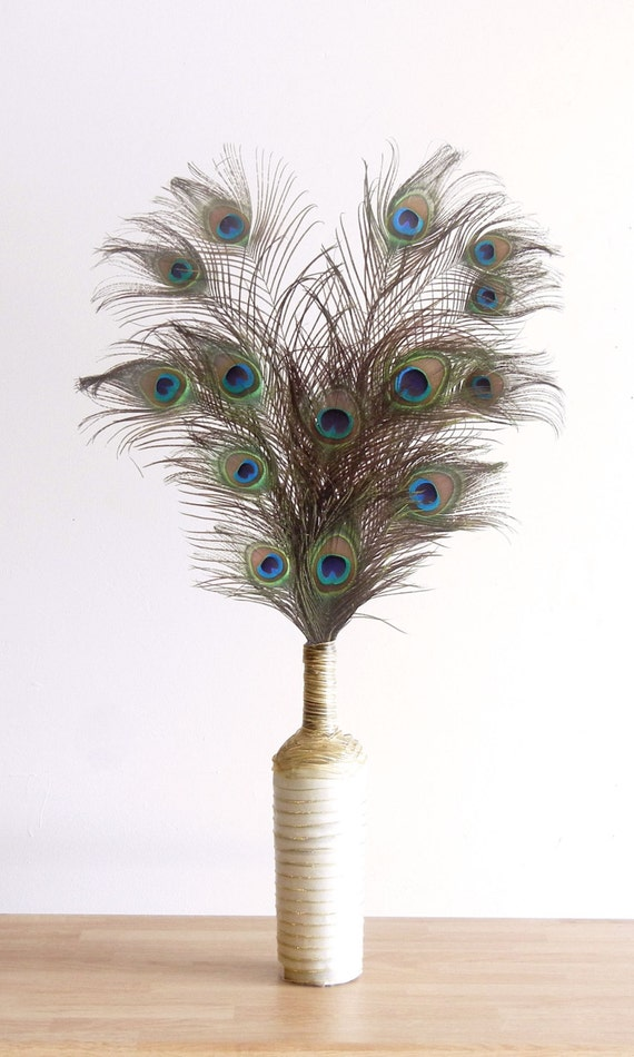 Items similar to peacock feather arrangement in white and