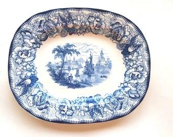 Vintage Royal Staffordshire Platter Safe Harbour Blue Ceramic