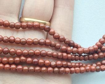 Red Jasper Stone, Natural Red Jasper Rondelle, Jasper Beads, Red Jasper Necklace, 4mm Beads, 13 Inch Strand, Wholesale Gemstone