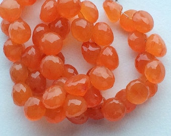Carnelian Beads, Carnelian Faceted Onion Briolettes, Juicy Orange AAA Carnelian Beads, Carnelian Necklace, 9mm, 5 Inch Strand, 26 Pieces