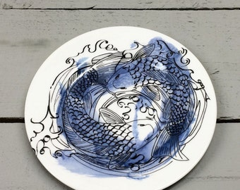 Koi carp inspired blue black and white tea plate