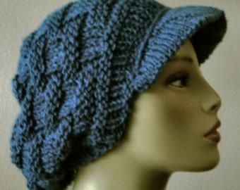 Marine Blue Hand Knit Basket Stitch Newsboy Brimmed Slouchy Hat