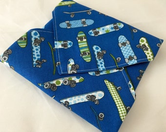 Reusable Sandwich Wrap Bag - Skateboards
