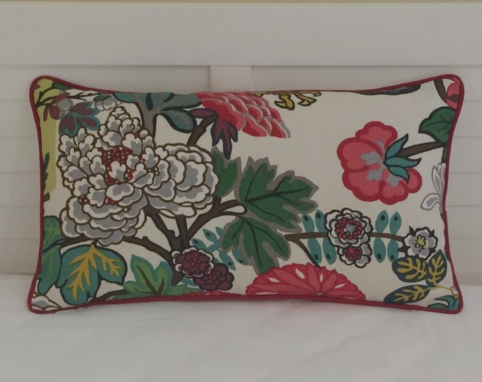 Schumacher Chiang Mai Dragon in Alabaster  (Floral Feature) Designer Pillow Cover with Red Piping