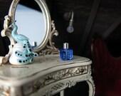 Deep blue Swarovski crystal perfume bottle - dollhouse miniature