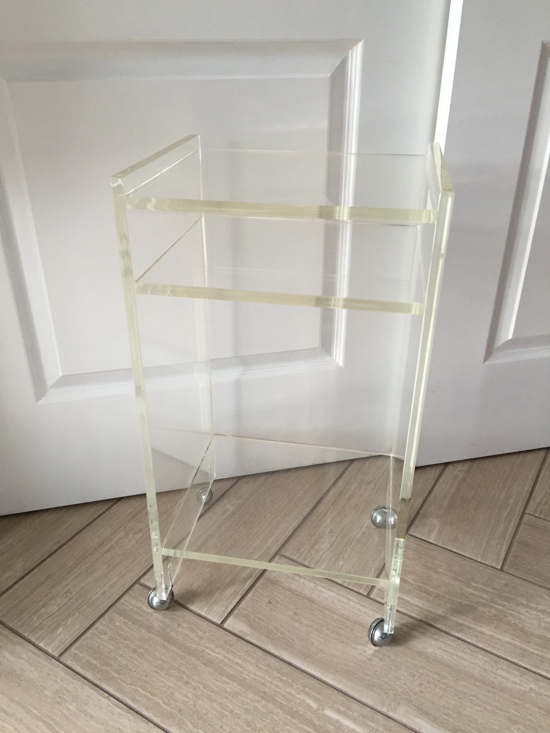 acrylic side table with wheels ca designs peek acrylic coffee  - vintage lucite side table rolling night stand small clear acrylic nightstandon wheels s furniture glam hollywood regency cart