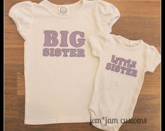 Custom Big Sister Shirt & Little Sister Onesie