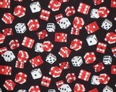 REMNANT--Red and Black Game of Chance Dice Print Pure Cotton Fabric--7/8 Yard