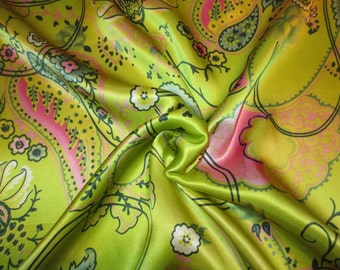 Bright Acid Green and Pink Sketchy Paisley Print Pure Silk Charmeuse Fabric--One Yard