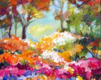 Forrest Floral Landscape Painting 20 x 30 Large Original Modern Impressionist Fine Art by Elaine Cory