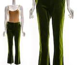 Vintage 70s Green Velvet Pants Boot Cut Slight Flare Bellbottom Pants Low Cut Hipster Preppy MOD Pants XS S