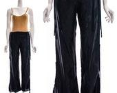 Vintage Black Fringe SILK Tie Pants Avant Garde Asymmetric Minimalist Pants Small Medium