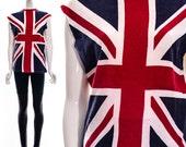 Vintage 70s 80s Cutoff UNION JACK British UK England's Flag Distressed Punk Sleeveless England Novelty T-Shirt Jumper Soft Unisex S M