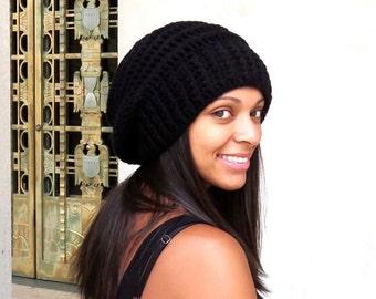 Crochet Slouchy Hat, Women, Men, Teen, Beehive Hat, Tam,  Adult, Black, Ribbed