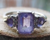 Vintage Sterling Silver Women's Lab Created Amethyst Stone Size 7 1/2 Three Stone Ring