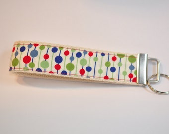 Key fob Keyfob wristlet  fabric Key chain lanyard white  with blue green and red polka dots