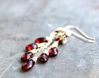 Garnet Earrings Silver Red Teadrop Dangle Gemstone Sterling Silver Earrings Cascade