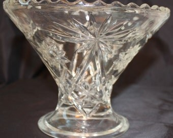 Anchor Hocking Star of David Bowl- Vintage Anchor Hocking Star Of David Pattern Large Pedestal Cut Crystal Pedestal Vase /Bowl