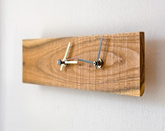 Double Time Clock Modern Wall Clock Rectangular Wooden Clock Salvaged Wood SAPPHO
