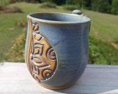 Blue Hand Carved Sun Floral Mug