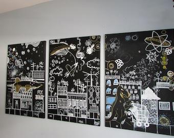 SALE Fly Soar by Stasea Dohoney Black & White City Street Dinosaur Original Art 3 piece panel series gold blue buildings magic Atomic Dream