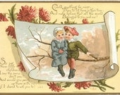 Antique Love Card, 1883 Rare Original Victorian Trade Card, Full Color Chromolithography, Louis Prang Co., Boston, MA, U.S., 6 x 4.25""