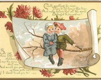"Antique Love Card, 1883 Rare Original Victorian Trade Card, Full Color Chromolithography, Louis Prang Co., Boston, MA, U.S., 6 x 4.25"""