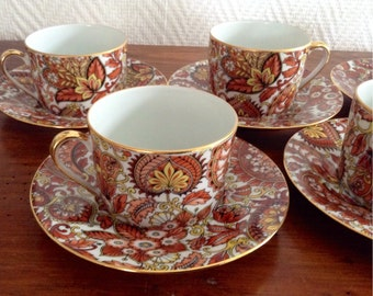 Five Elegant Vintage French Limoges Coffee/Tea Cups and Saucers, Made in France, Porcelain, French Country Chic,