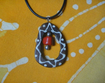 Kenyan Batik Bone Peek a Boo Pendant African Tribal Red Coral Necklace