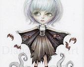 Bat Girl Print - Creepy Cute Art - Spooky Big Eyes