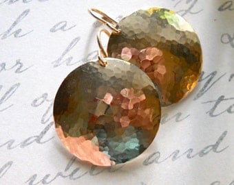 Large 3/4 Inch Gold Filled Hammered and Forged Circle Disc Earrings, Golden Sun Earrings