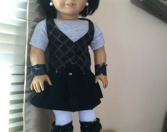 Leather lace up style wrist cuffs for American Girl dolls