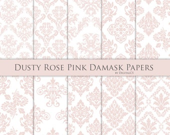 Dusty rose pink damask digital paper Dusty rose digital paper Dusty pink paper Commercial use pink Wedding digital paper