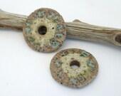 Green Rustic Stoneware Coin Charm Pair