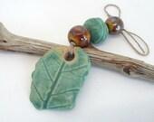 Green Porcelain Fragment Leaf Bead Set