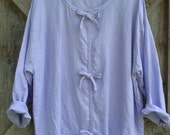 washed linen top in lilac with contemporary bows ready to ship