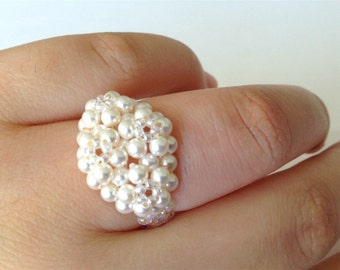 Vintage white faux pearl ring, white clustered bridal ring size 8