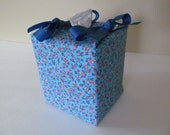 Tissue Box Cover/Red Flower On Blue