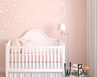 Star Confetti wall decals for baby nursery - gold stars - Metallic star decals