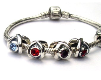 Sterling Silver Birthstone Charms European Beads