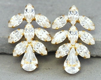 Bridal Crystal Earrings,Swarovski Stud Earrings,White Crystal Cluster Stud Earrings,Bridesmaids Swarovski Earrings,Bridal Crystal Earrings