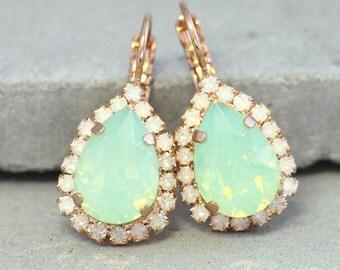 MInt Opal Earrings,Mint Crystal Earrings,Mint Drop Swarovski Earrings,Mint Bridesmaids Earrings,Opal Mint Bridal Earrings,Gift for Woman