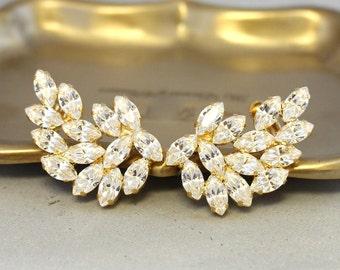Ear Cuff Earrings,Bridal Statement Earrings,Swarovski Earrings,Ear Crawler,Bridal Climbing Earrings,Crystal Cuff Earrings,Statement Jewelry