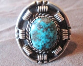 large STERLING sil ver round TURQUOISE cabochon MODERN Native AMerican ring