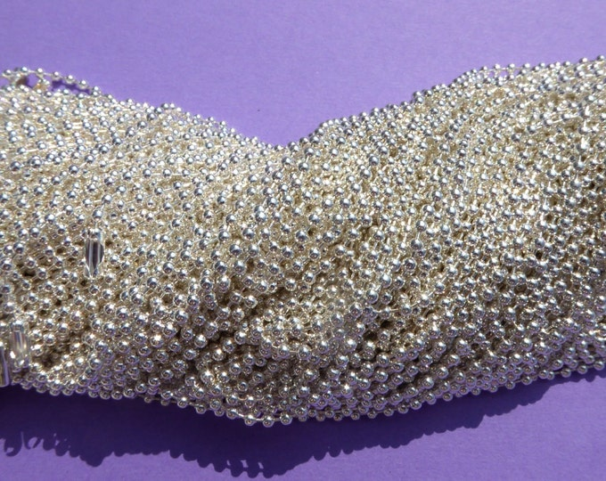 Shiny Silver Ball Chain Necklaces - 24 inch - 2.4mm Diameter - Set of 10 - Silver Colored Plated