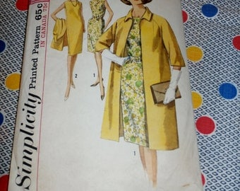 "1960s Vintage Simplicity Pattern 5373 for Misses' Wiggle Dress and Coat Size 12, Bust 32"", Waist 25"", Hip 34"""