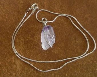 Amethyst Grade A Stone Pendant Necklace with Silver Chain 18 inches Hand wired Handmade