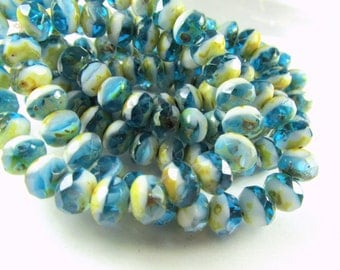 Czech Glass 8mm x 6m Faceted Rondelle Blue Turquoise, White with Golden Yellow Picasso Finish Jewelry Beads